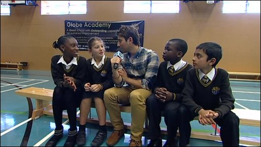 Ricky interviews pupils at school that Barack Obama visited