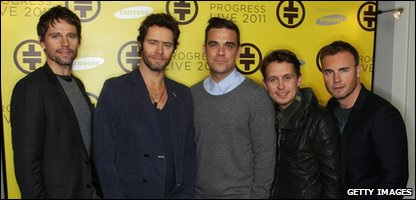 Jason Orange, Howard Donald, Robbie Williams, Mark Owen and Gary Barlow of Take That attend a press conference to announce their new stadium tour Progress