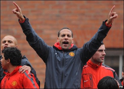 Rio Ferdinand celebrating as part of Manchester United's victory parade