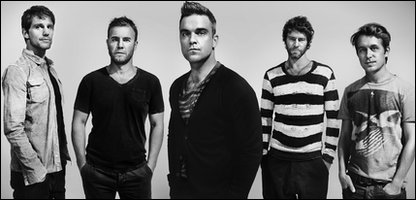 Take That, L-R: Jason Orange, Gary Barlow, Robbie Williams, Howard Donald and Mark Owen