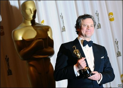 Colin Firth with Oscar for best actor award