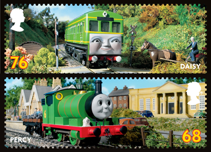 The 76p stamp featuring Daisy and Percy is on the 68p stamp