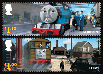 The £1.10 stamp featuring Gordon and the £1 stamp with Toby
