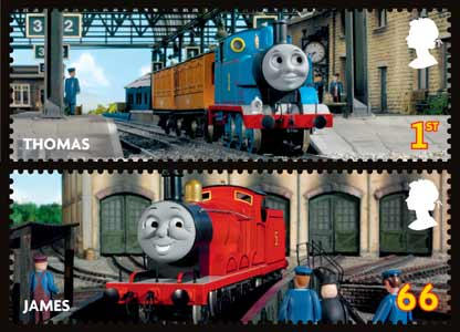 The 66p stamp featuring James and the first-class stamp featuring Thomas the Tank Engine