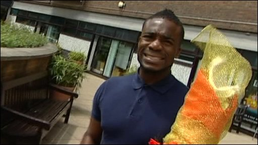 Ore with the Newsround's Olympic torch