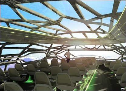Graphic of a futuristic plane that is see-through