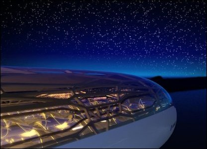 Graphic of a futuristic plane that is see-through at night