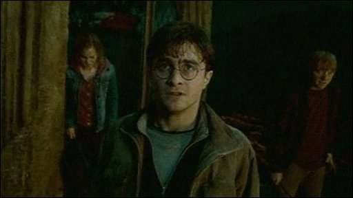 Harry Potter, Hermione Granger and Ron Weasley in a scene from the trailer for Deathly Hallows Part 2