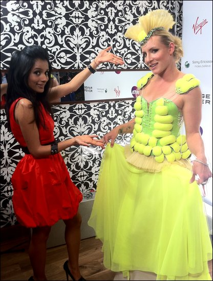 American tennis player Bethanie Mattek-Sands shows off her Lady Gaga-style dress made with tennis balls!