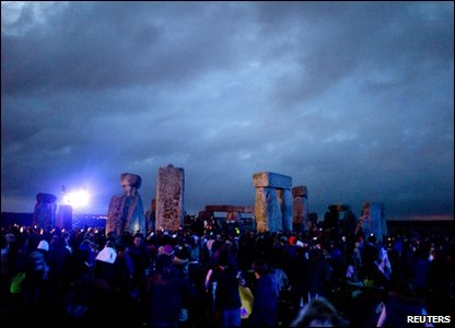Dawn over Stonehenge in Wiltshire on 21 June 2011