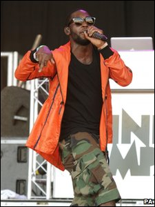 Tinie Tempah performing at Glastonbury