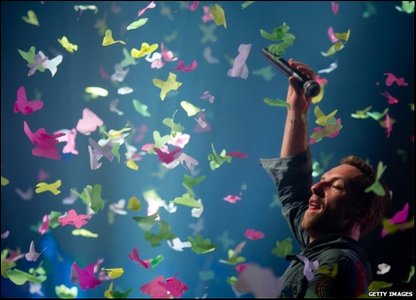Chris Martin from Coldplay performs at Glastonbury