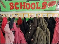 Coats hanging up at school