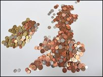 Map of the UK made of coins