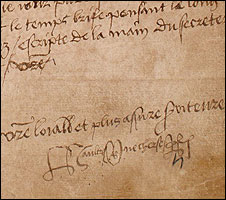 King Henry VIII's handwriting