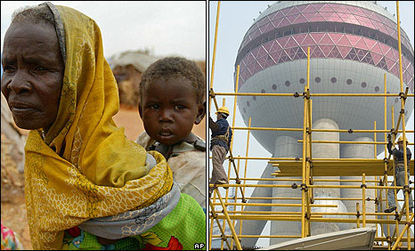 Displaced Sudanese woman in Darfur on 1 July 2004 (left): Construction in Pudong, Shanghai in 2005