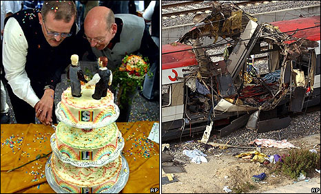 Germany's first civil partnership ceremony on 1 April 2001 (left): Train bombing in Madrid on 11 March 2004
