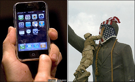 An iPhone demonstration in California, January 2007 (left): US Marine covers the face of a statue of Saddam Hussein in Baghdad on 9 April 2003.