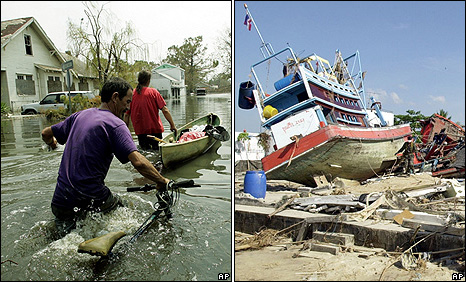 Post-Katrina floodwaters in New Orleans Ninth Ward on 5 September 2005 (left): Banda Aceh in western Indonesia on 27 December 2004