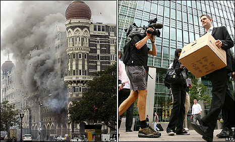 Mumbai's Taj Mahal hotel under attack on 29 November 2008 (left): Lehman Bros employee leaves its London offices on 15 September 2008.