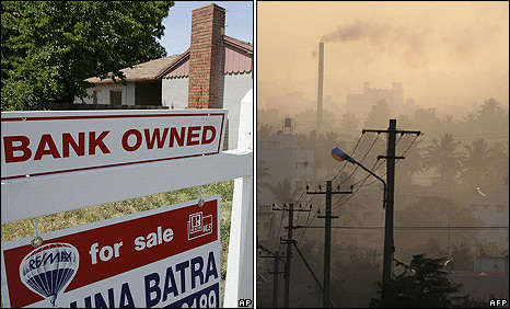 Foreclosure sign on a house in East Palo Alto, California in May 2008 (left): A factory chimney emitting smoke in Bangalore 11 December 2009
