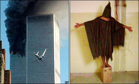 The Twin Towers of the World Trade Center hit by planes on 11 September 2001 (left) : An unidentified detainee at Abu Ghraib prison in Baghdad in late 2003