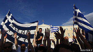 Workers in a rally led by the PAME union in Athens on 22 April 2010