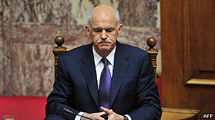 Greek Prime Minister George Papandreou at an EU summit in Brussels on 26 March 2010