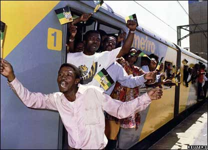 ANC supporters celebrate in Johannesburg