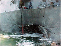 Danage to the side of the USS Cole