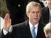 George W Bush being sworn in