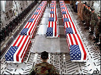 Coffins of US servicemen being flown back from Iraq