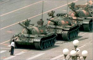 Tanks roll into Tiananmen Square, December 1989 (AP)