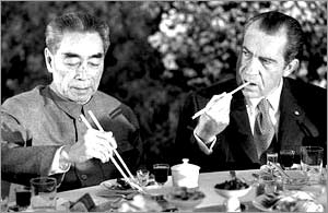 Chinese premier Zhou Enlai and visiting US President Richard Nixon, at a banquet in Shanghai, 28 February, 1972 (AP)