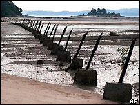 Defences on the Taiwanese island of Kinmen, close to China