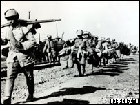 Nationalist troops retreating from Communist advance, 1949