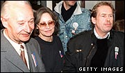 Czech dissident playwright Vaclav Havel and former Czechoslovak leader Alexander Dubcek