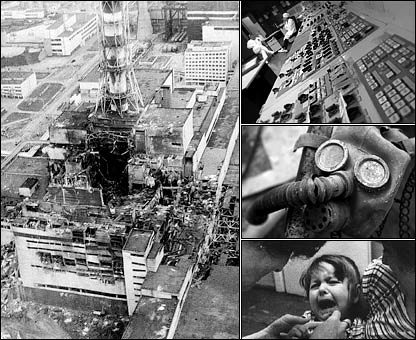 Chernobyl after the explosion, control panels, a gas mask and young girl