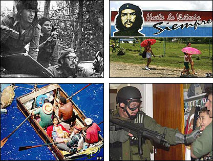Clockwise from top left: Castro and Cuban forces await Bay of Pigs invasion; Che Guevara billboard in Cuba; Elian Gonzalezremoved from relations in Miami; refugees flee Cuba in 1994