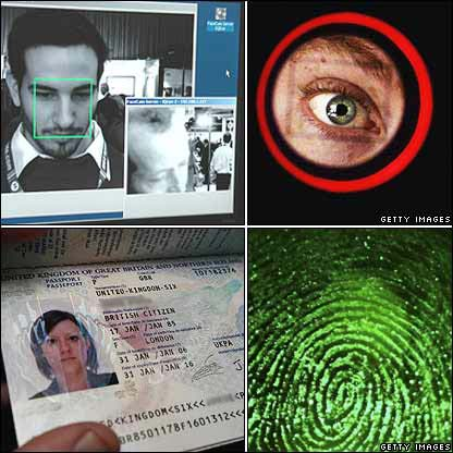 Clockwise from top left: Facial recognition; iris scan; fingerprint; biometric passport