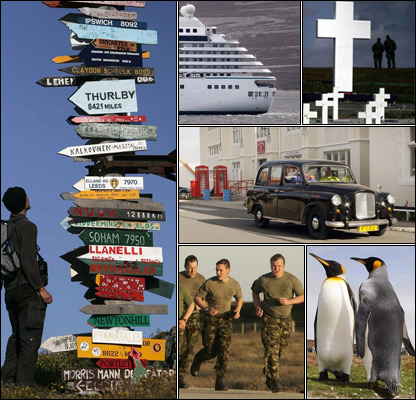 Tourist, cruise ship, memorial to Argentine dead, black cab, soldiers training, penguins