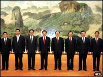 China's Politburo and former President Jiang Zemin (fifth from right) (Sep 2004)