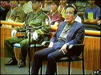 Cheng Kejie, a former deputy chairman of the national legislature, being sentenced to death (July 2000)