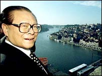 Jiang Zemin looks at the Douro river from a viewpoint in the city of Oporto, Portugal, October 1999 (AP)