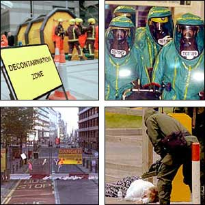 Two images of decontamination signs from BBC programme Dirty Bomb; two images of emergency workers in protective suits during terror attack exercises in London and Birmingham