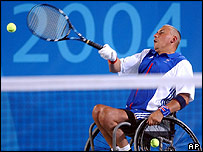 GB's Peter Norfolk in the men's doubles final in which he and team-mate Mark Ecclestone won silver