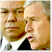 US President George Bush and Secretary of State Colin Powell