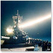 A cruise missile is fired from an aircraft carrier during Operation Desert Storm