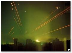 Tracer fire lights up the Baghdad skyline during Operation Desert Storm