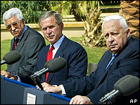 Picture: Mahmoud Abbas (far left) served as Palestinian PM for four months